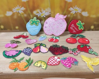 Bulk Fruit collection 20pcs  fruit collection apple strawberry   cherry   embroidered iron on patch