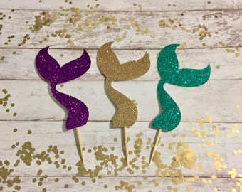 Glitter Mermaid Tails Cupcake Toppers • Under the Sea Party • Mermaid Birthday Party Decorations