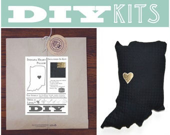 DIY Sewing Kit: Indiana Shaped Pillow with Heart // Make Your Own Indiana Pillow with a Craft Kit DIY // DIY Kits for kids // Indiana Craft