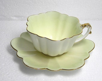 Rare Antique Pale Green Foley Wileman Pre Shelley Cup and Saucer Empire Shape reg nr 208329  1893 unmarked
