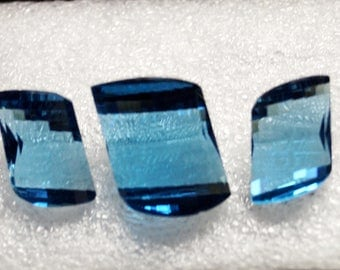 50% OFF Topaz Gemstone / 16x11 To 19x14 mm 3 piece Set London Blue Topaz Carved Cut / Fancy Blue Topaz / Carved Blue Topaz / Topaz Quartz /