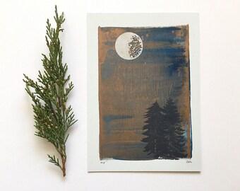 Letterpress Print - Silver Moon Over Pine Trees