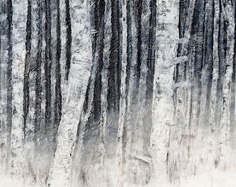 Original Birch Tree Painting, Textured Birch Tree Painting, Abstract Birch Trees, Acrylic Painting, Tree Painting, Birch, Nature Painting