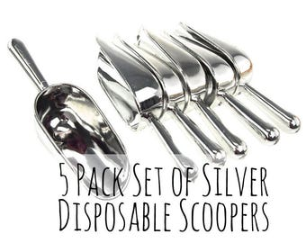 5 Pack Disposable Silver Candy Scoops, Plastic Candy Scooper, Candy Buffet, Candy Bar, Wedding Favors, Wedding Ideas, Coffee Scoop, Scooper