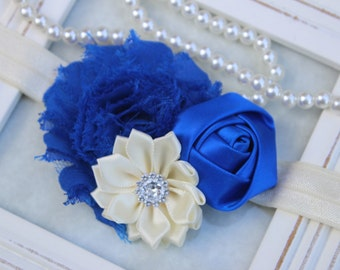 Ivory and royal blue headbands, ivory and royal blue hairclip, royal blue and ivory flower hair accessory, something blue hair accessories