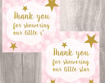 Pink and Gold Thank You Tags, Twinkle Little Star Favor Tags, Instant Download, Printable Little Girl Star  Baby Shower Thank You Tags