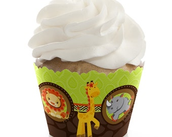 Funfari- Fun Safari Jungle Cupcake Wrappers - Cupcake Decorations for a Baby Shower or Birthday Party - Set of 12