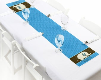 Blue Elephant Petite Table Runner - Custom Baby Shower or Birthday Party Decorations - Personalized Party Supplies