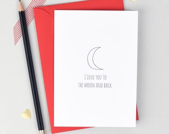 Valentines Card - Card for Fiance - Wife Valentines - Moon And Back Card - Anniversary Card - Love Cards - Card for Wife - Card for Husband