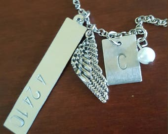 hand-stamped personalized memorial charm necklace