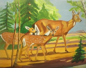 Doe with her fawns, #1, 11 x 14