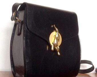 Vintage Black Leather Handbag With Jaguar/Panther Clasp. Chiltern Handbag.