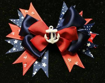 Nautical style inspired hair bow