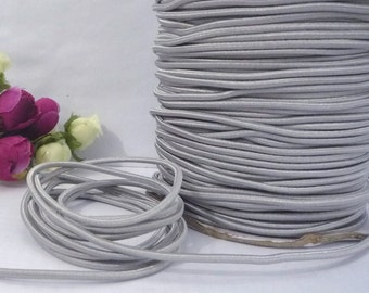 10 yd /9 meters Silver Gray Elastic Thread Round Elastic Cord Rope Sew Craft 2mm  or  2.5mm width ET9