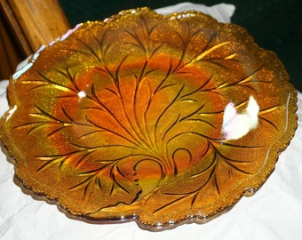 Beautiful Vintage Indiana glass Co.  Amber Carnival Glass Platter with Pebble Leaf Pattern