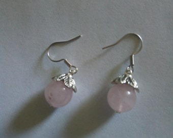Rose quartz Silver tone earrings