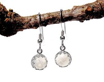Sterling Silver Rainbow Moonstone Earrings - June Birthstone