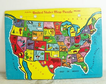 vintage usa 48 states map puzzle by built rite in 1950 sta n