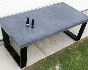 Concrete patio outdoor/indoor dining table with powder coated steel base.  2.1m x 1.1m industrial table
