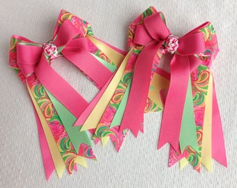 Bowdangles Horse Show Hair Bows/Lilly Inspired Equestrian clothing/pink green yellow/Ready2Mail with elastic loops