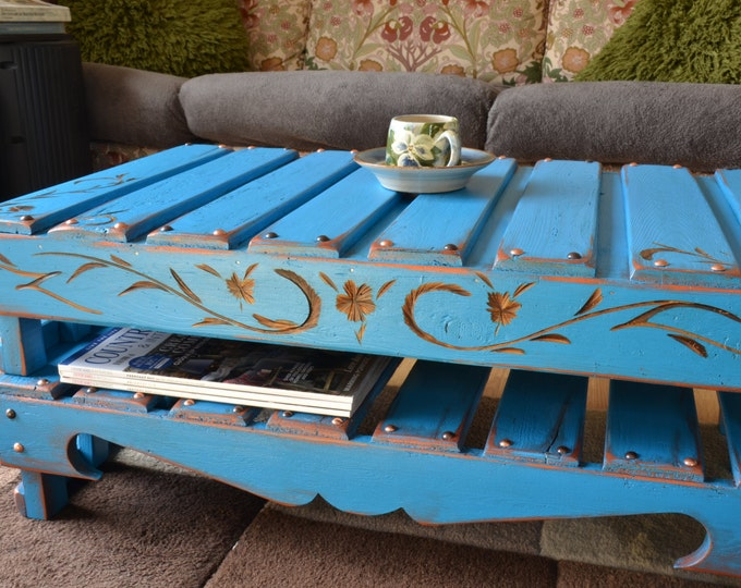 FREE UK SHIPPING Rustic Reclaimed Wood Coffee Table Mediterranean Blue with Carving Pattern Copper & Bronze Tacks Under Shelf Storage