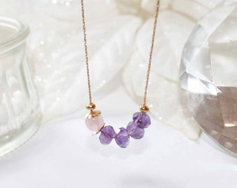 Fine gold plated short necklace with pink quartz and amethyst