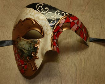 Classic Colorful Red Venetian Costume Masquerade Mask Mosaic Phantom of the Opera Style Scenic Prop PP019RD
