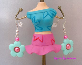 Children's jewelry / earrings pearl green, salmon and pink flower earrings