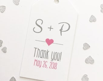 Thank You Wedding Tags, Customized Wedding Shower Tags, Custom Wedding Favor Tags  (MLT-004)