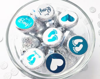It's a Boy Hershey Kiss Candy Stickers - 100/pk, Color Foil Baby Shower Envelope Seals, Birth Announcements (#408-AQ-F)
