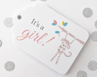 It's a Girl, Cute Monkey Baby Shower Tags, Baby Shower Favor Tags, Favor Tags (ST-140C)