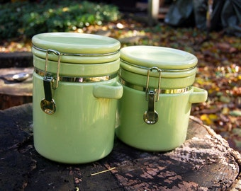 Vintage Mid Century Avocado Porcelain Canisters (Set of 2)