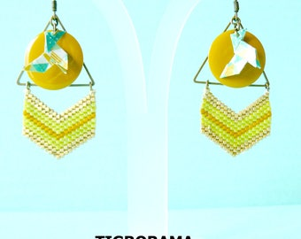 triangle, chevron weaving miyuki, Pan and mustard email origami earrings