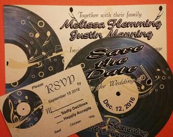 Vintage Record Wedding Invitations - Music Save the Dates - Rock and Roll Wedding - Rockabilly Wedding - Unique Wedding Invite (set of 10)