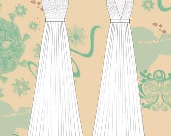 Gown Sewing pattern, women dress, long dress women, prom dress, wedding dress, bridesmaid dress, prom dress muslin, size 36/44 PDF download