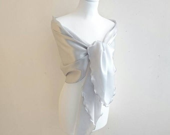 Stole silver grey satin wedding/party/christening/cocktail/Christmas/holiday at the end of year