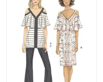 Vogue Pattern V9238 Misses' Cold-Shoulder, Flounce Top and Dress, and Bootcut Pants