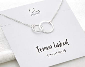 Silver Linked Circles Necklace with 'Forever Linked' Message Card