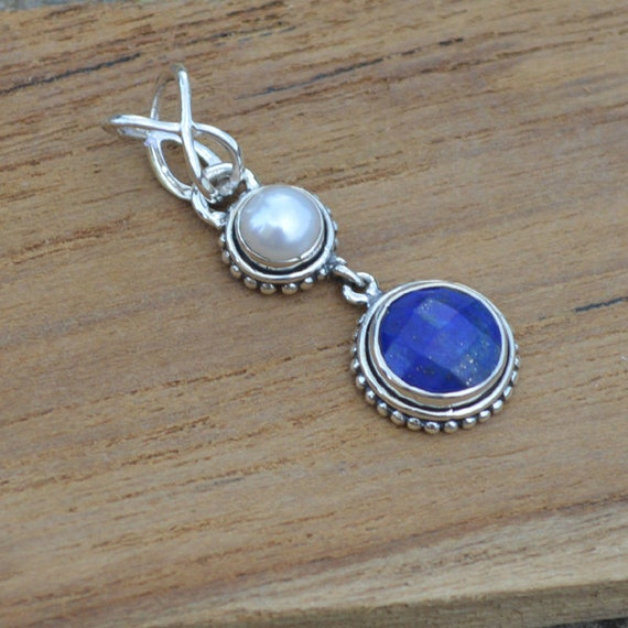 South Sea Pearl Pendant, Lapis Lazuli, Lapis Solid 925 Sterling Silver Pendant, Artisan Birthstone Gift Pendant