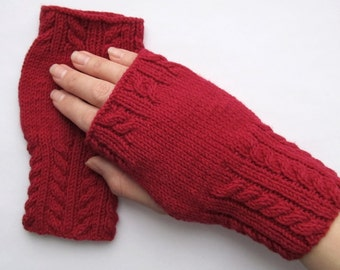 dark red fingerless mittens, wristwarmers, dark red mittens, dark red wristwarmers, fingerless gloves, knitt mittens, fingerless mittens