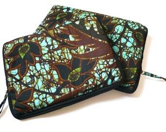 Housse d'ordinateur portable en wax, housse macbook, housse Macbook Air, housse matelassée ou étui pour ordinateur, wax hollandais turquoise