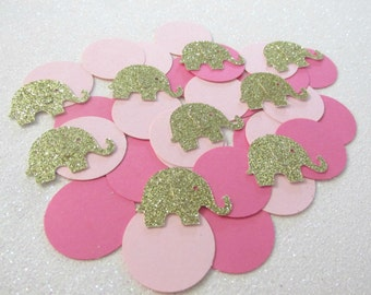 225 Pink and Gold Elephant Confetti Pink and Gold Elephant First Birthday Pink and Gold Elephant Baby Shower Pink Gold Elephant Decorations