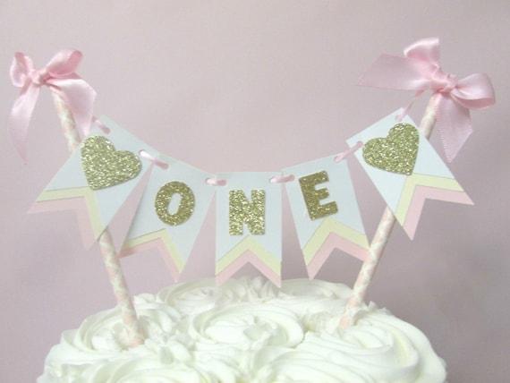 First Birthday Cake Topper Heart First Birthday Pink White Cream