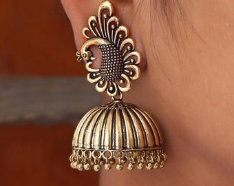 Handmade Jhumka /Oxidised gold Jhumka/Jhumki/indian jewelry/earrings/indian earrings