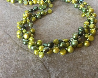 Freshwater Pearl Necklace, Olive Green Freshwater Pearl Triple Strand Necklace, Pearl Necklace,  Women's Gifts, Gifts For Her
