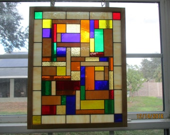 "Stained Glass Window Panel  ""Rectangle Amber Blocks"" Framed"