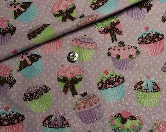 Purple/lilac kawaii cotton fabric 108x100cm, glitter and cupcakes