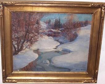 "Vintage Painting ""Winter Scene in Norway""  Karl Ouren.  Norwegian/Chicago artist"