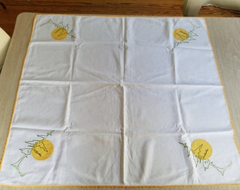 Vintage Tablecloth with Yellow Stitching and a Sun, Tree and Grass on Each Corner