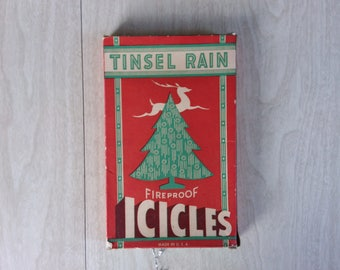Vintage Box of Tinsel--Tinsel Rain--Fireproof Icicles